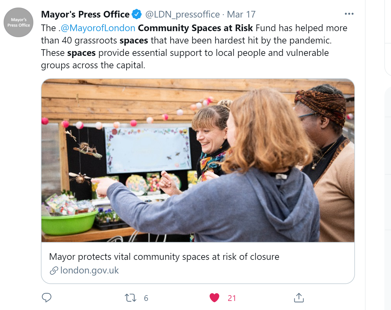 Picture of a Mayor of London Tweet announcing the Fund