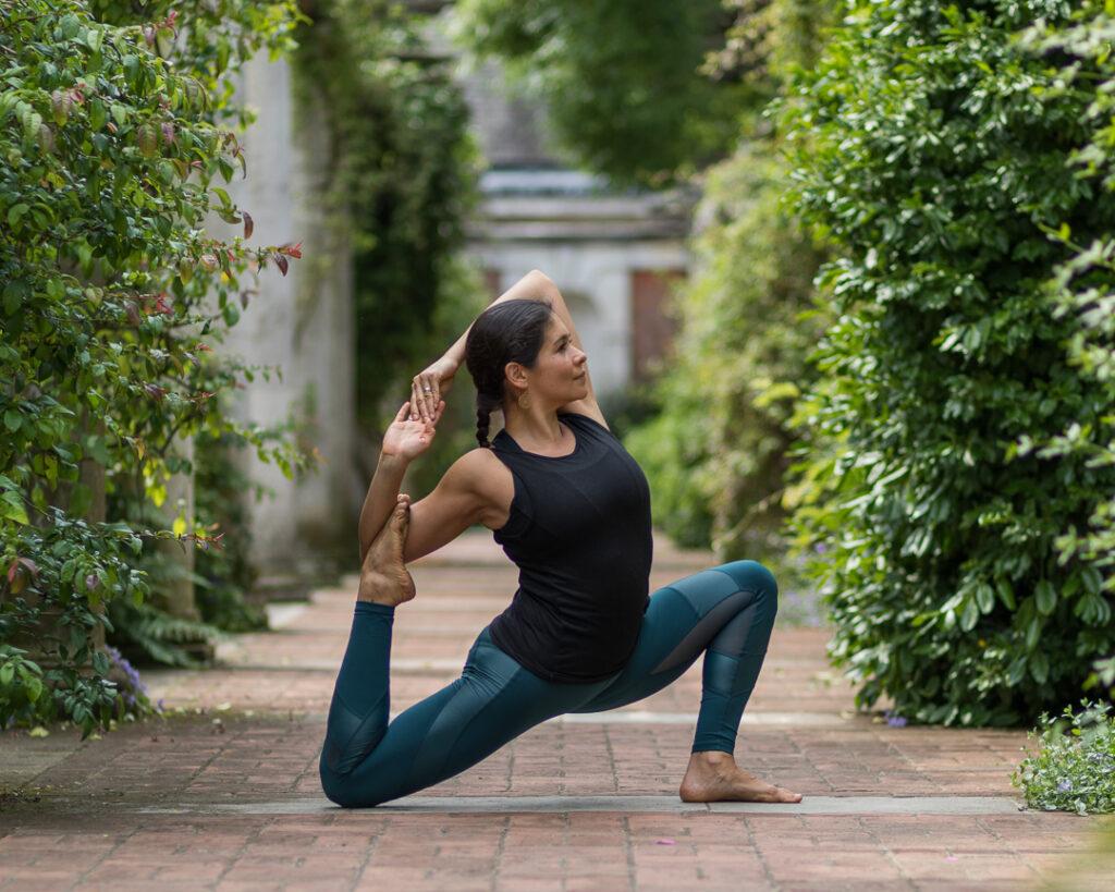Adriana in classic yoga pose