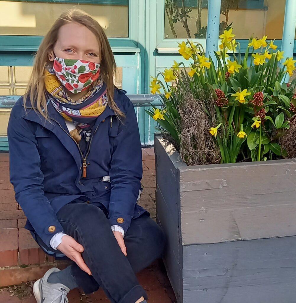 Danni Haylett sitting outside Hornsey Vale