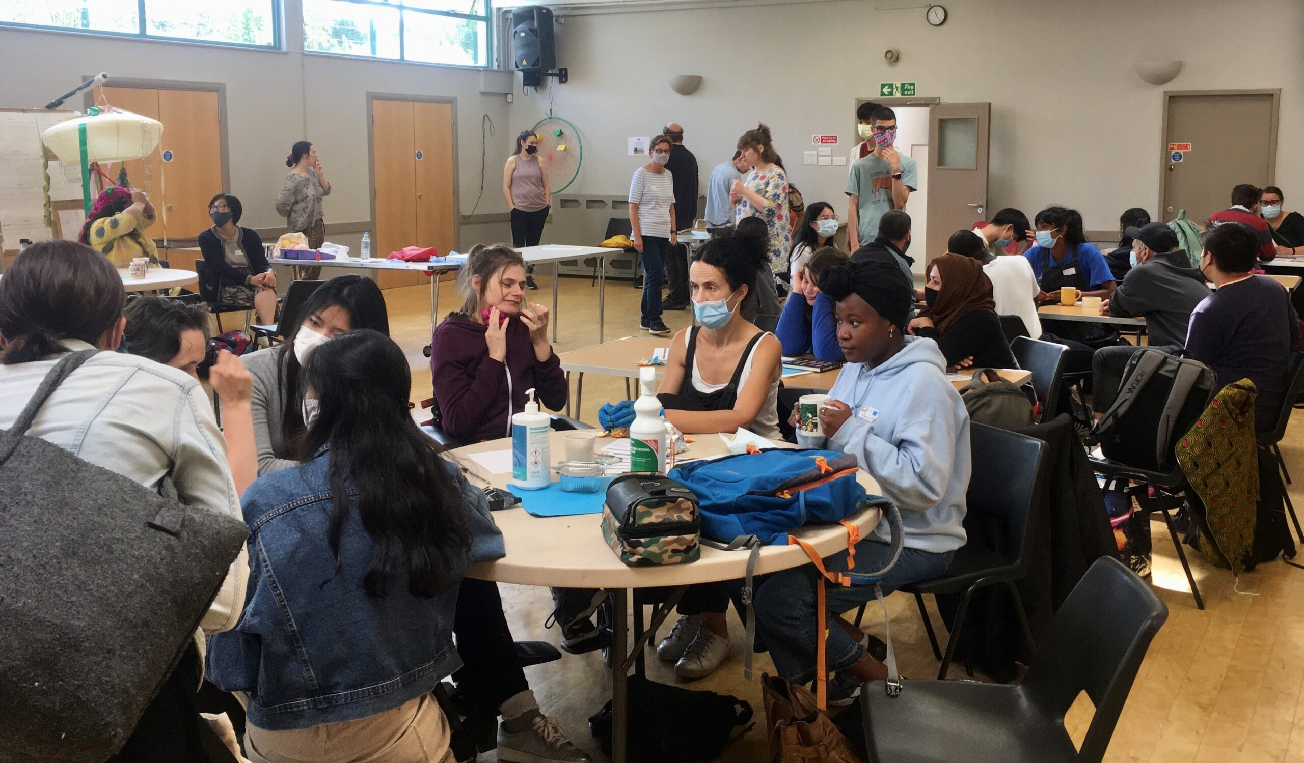 Group scene in the main hall of Hornsey Vale community centre
